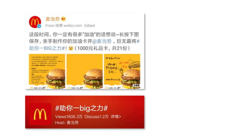 """McDonald's Weibo – DIY 'cheer up cards' and the engagement under the topic """"助你一BIG之力"""