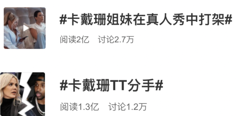 Weibo, Hot topics in terms of 'Keeping up with the Kardashians' in china