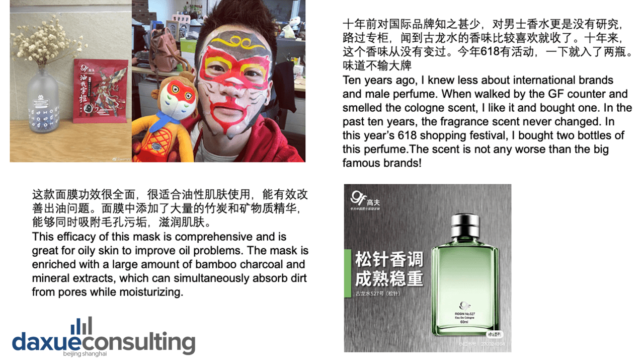 Chinese male beauty consumers' perceptions of GF