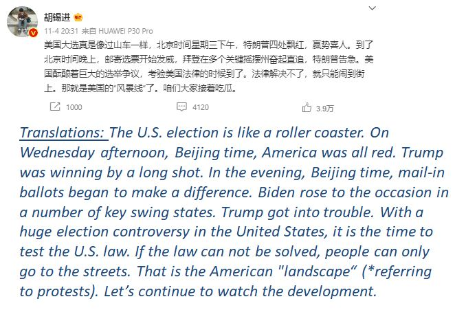 the most liked posts from Hu Xijin  What Chinese netizens say about the US 2020 election