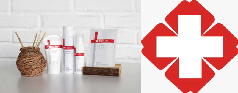 Winona's product packaging resembles the red cross symbol
