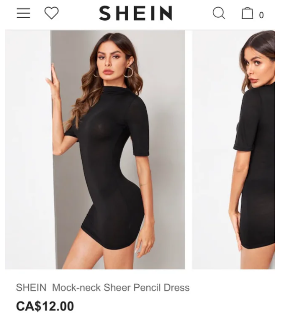 a Shein model with clearly photo shopped features. Shein's market strategy