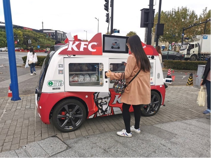 Driverless food trucks, such as the one above by fast food chain KFC, have seen a surge during the pandemic Autonomous driving in China