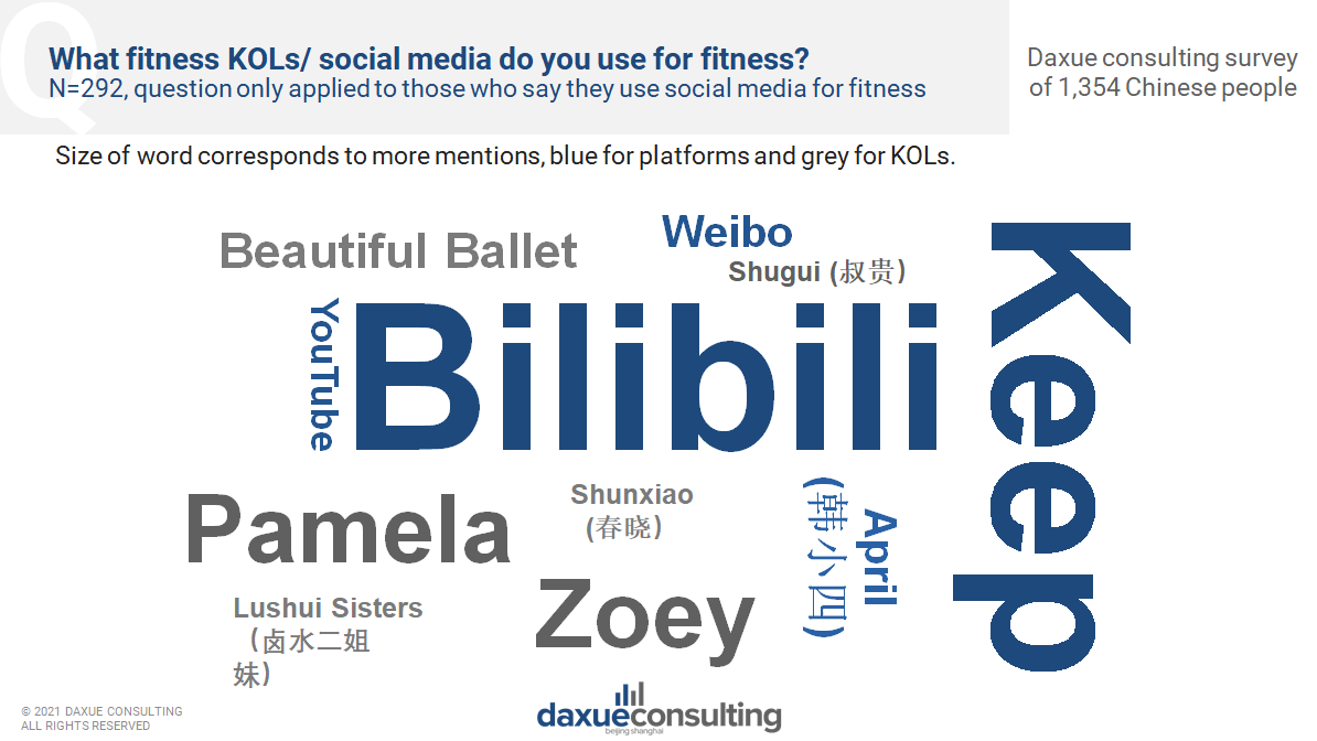 fitness bloggers Chinese follow and platform they use